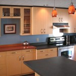Quartersawn Maple Cabinets with Heart Pine Buffet Countertop