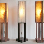 """Table LampsWood Veneer Shades7"""" x 7"""" x 29"""" Available for Sale"""