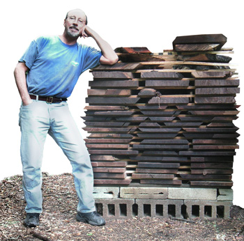 Bob with a stack of Tornado Walnut boards. What's Tornado Walnut?